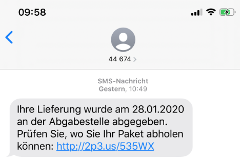 2020-01-30 DHL SMS Lieferung Paket an der Abgabestelle abgegeben