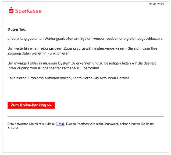 2020-01-30 Sparkasse Spam-Mail Technische Instandhaltung abgeschlossen
