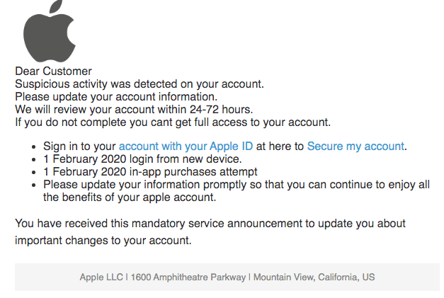 2020-02-02 Apple Phishing-Mail New sign in
