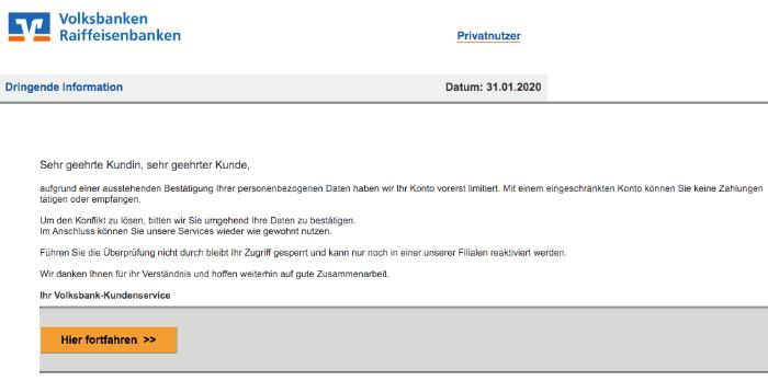 2020-02-02 Volksbank Spam-Mail Ihr Zugang ist limitiert