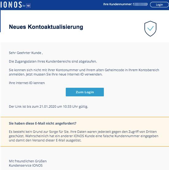 2020-02-08 IONOS 1und1 Fake Mail Neues allgemeines Update
