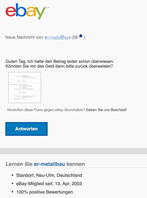 2020-02-10 ebay Spam Phishing Mail hat eine Nachricht gesendet