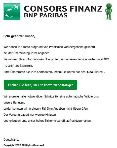 2020-03-22 Conors Bank Spam-Mail Ihr Konto hat Probleme