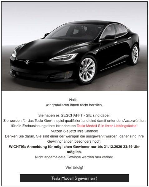 2020-04-06 Tesla Modell S Spam-Mail Supermarkt-Gutschein