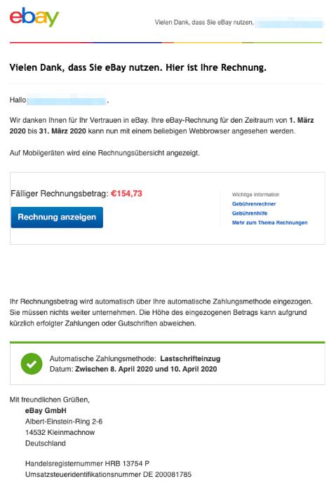 2020-04-06 ebay Spam Fake-Mail Ihre eBay-Rechnung fuer Maerz ist ab jetzt online verfuegbar