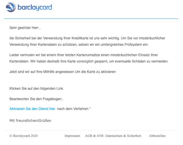 2020-06-11 Barclaycard Spam Fake-Mail missbraeuchliche Verwendung Ihrer Kartendaten