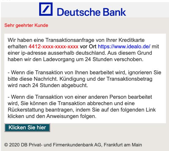 2020-02-03 Deutsche Bank Spam-Mail Ihre Transaktion wurde genehmigt