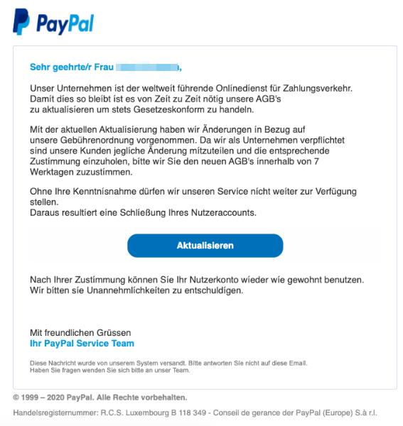 2020-02-03 PayPal E-Mail Phishing Benutzeraccount eingeschraenkt
