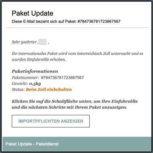 2020-02-05 Zoll Paket Fake Mail