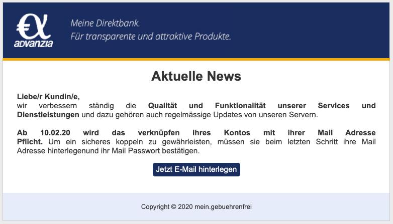 2020-02-06 Advanzia Bank Spam-Mail News