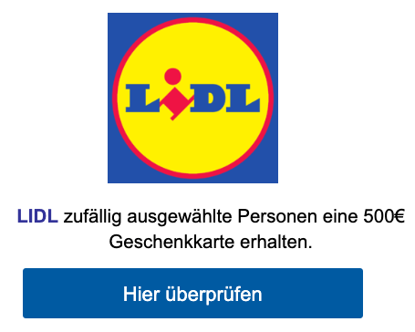 2020-02-09 Lidl Spam Mail Fake Februar Exklusiv