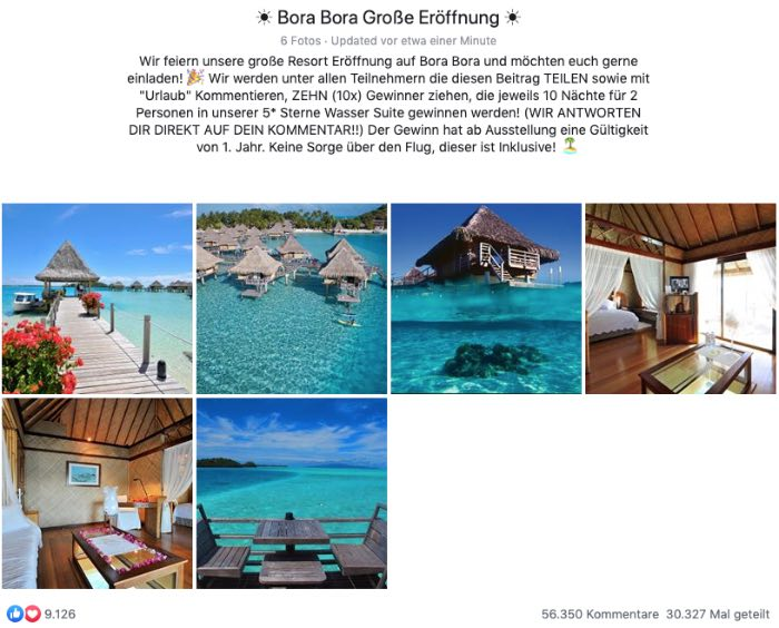 2020-02-09 TUI - Bora Bora Fake-Gewinnspiel Facebook