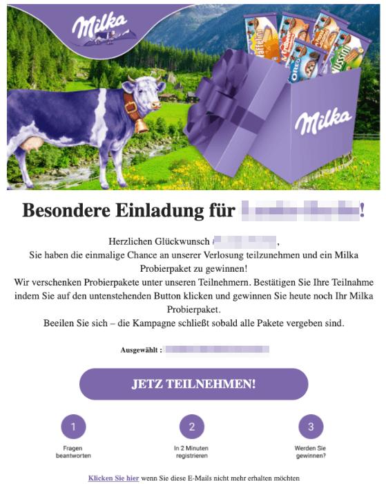 2020-02-10 Milka Testpaket Spam Mail