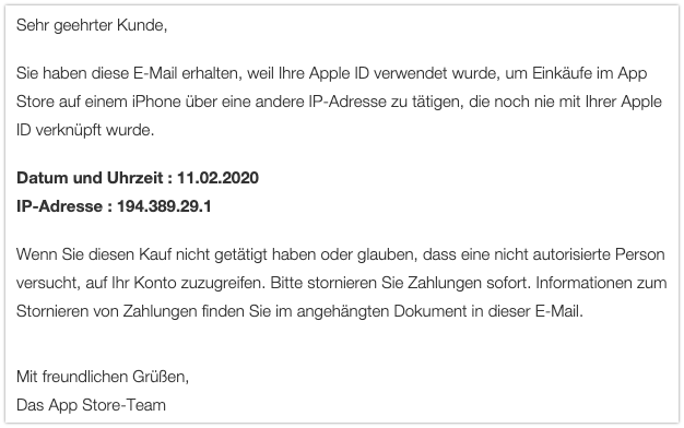 2020-02-10 Phishing Apple Rechnung