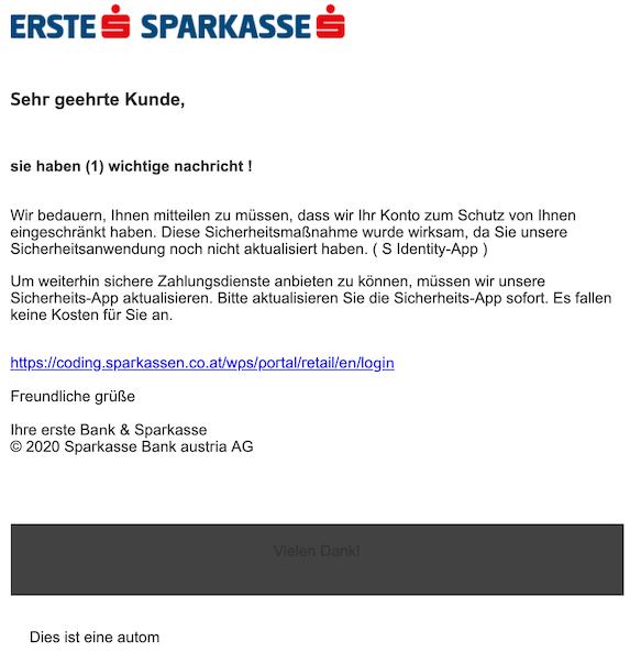 2020-02-12 Erste Sparkasse Phishing