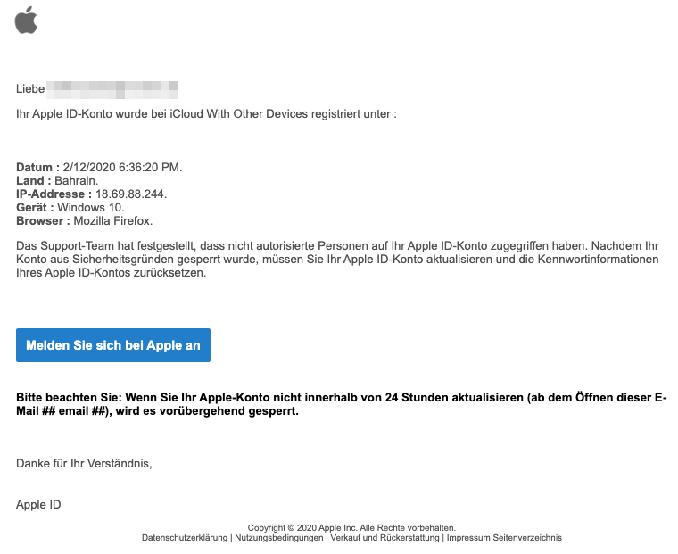 2020-02-13 Apple Phishing-Mail Apple-Konto gesperrt