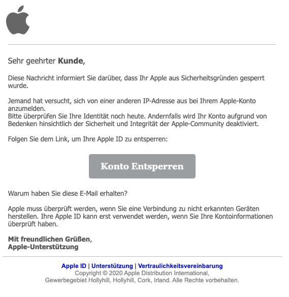 2020-02-13 Apple Spam-Mail Phishing Konto gesperrt
