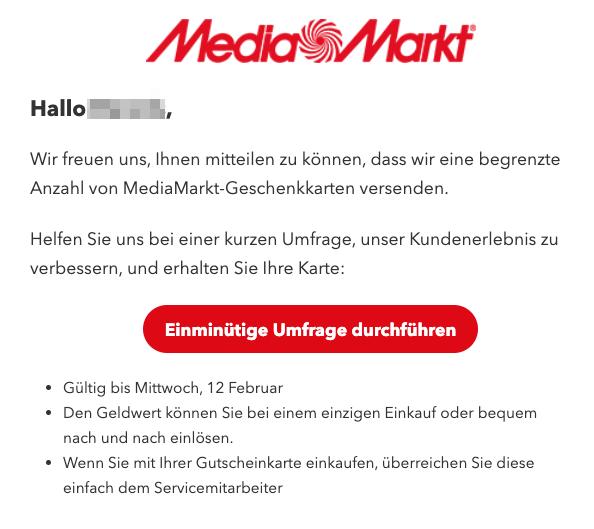 2020-02-13 Mediamarkt Spam-Mail Datensammler MediaMarkt-Geschenkkarte fuer