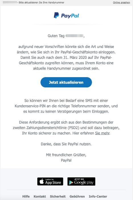 2020-02-13 PayPal E-Mail Wichtige Aktualisierung Ihres PayPal-Kontos erforderlich
