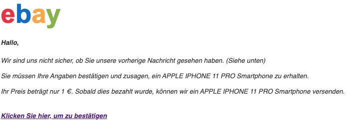 2020-02-13 ebay Fake Mail Spam Abofalle Das Smartphone APPLE IPHONE 11 PRO ist versandbereit