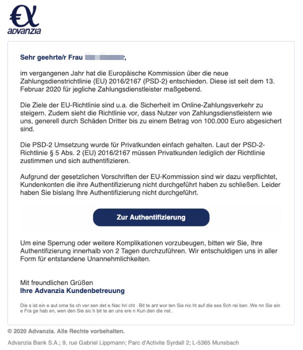2020-02-14 Advanzia Bank Spam Fake Mail Mitteilungspflichtige Benachrichtigung