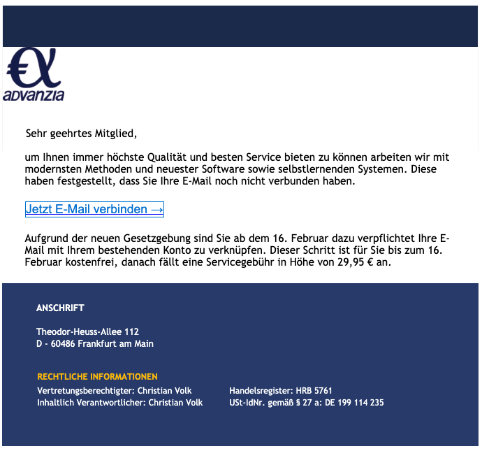 Advanzia Bank Email