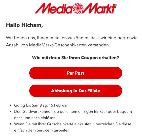 2020-02-14 MediaMarkt Spam Fake Mail Geschenkkarte