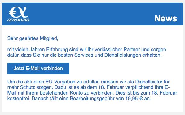 2020-02-16 Advanzia Bank Spam Phishing Mail Alle aktuellen Services und Dienstleistungen für Sie