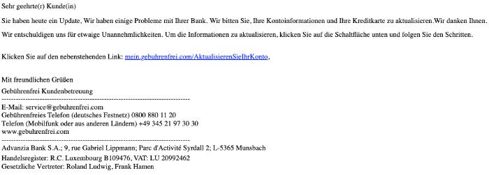 2020-02-19 Advanzia Spam Mail Fake Neue Nachricht