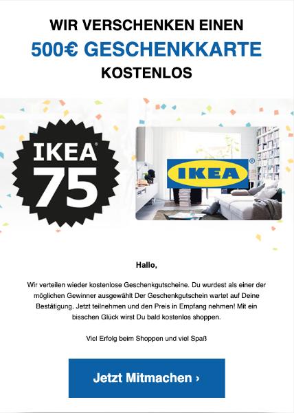 2020-02-19 IKEA Spam Mail Wir verschenken einen 500€ geschenkkarte
