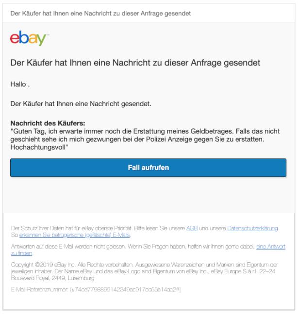 2020-02-20 ebay Phishing Fake Mail Der Käufer hat Ihnen eine Nachricht gesendet