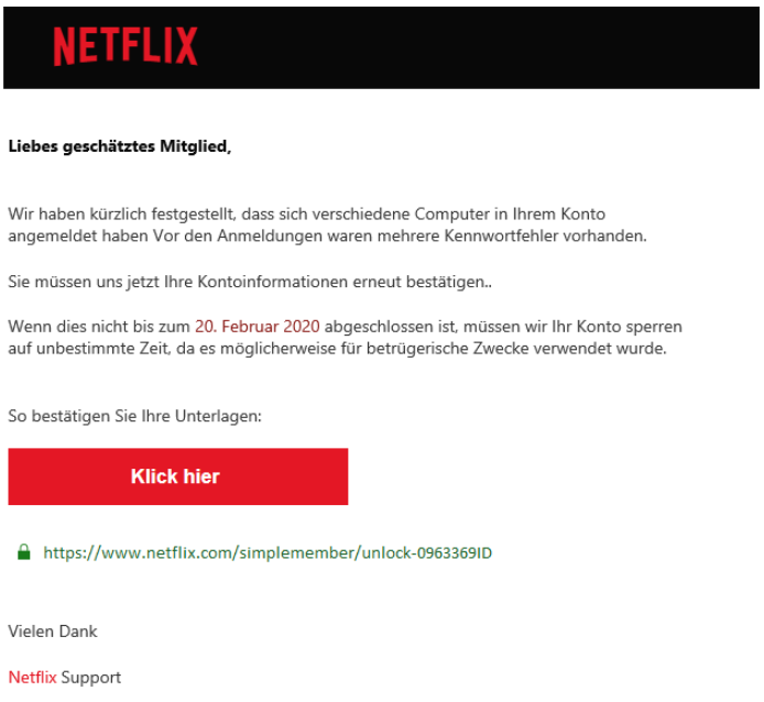 2020-02-21 Netflix E-Mail Fake Spam Konto gesperrt