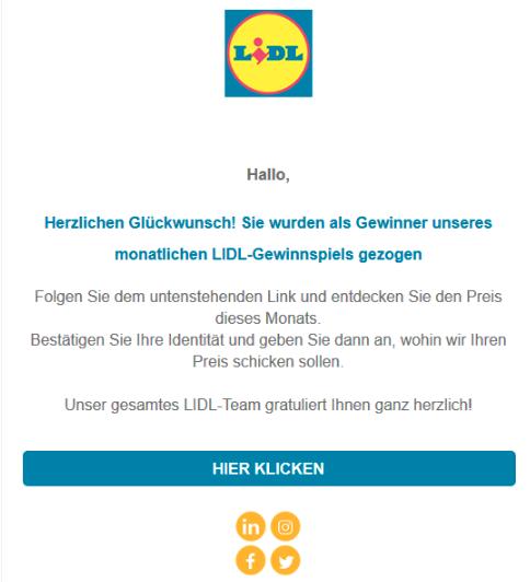 2020-02-22 Lidl Spam-Mail Fake Sie wurden als Gewinner unseres monatlichen LIDL-Gewinnspiels gezogen