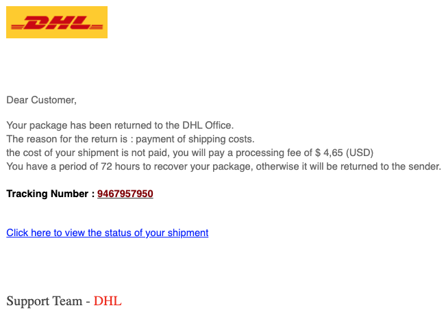 2020-02-24 DHL Spam-Mail DHL Shipment Notification