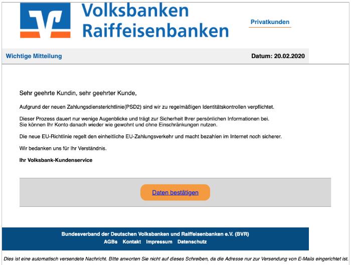 2020-02-24 Volksbank Spam Fake Mail Sicherheitsbenachrichtigung - Eine erneute Validierung ist erforderlich