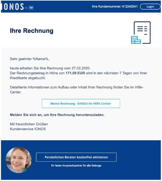 2020-02-27 1und1 IONOS Spam E-Mail Ihre Rechnung
