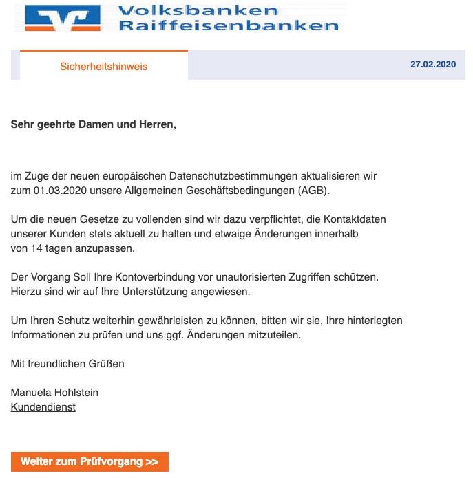 2020-02-27 Volksbank Spam-Mail Neue Regelung