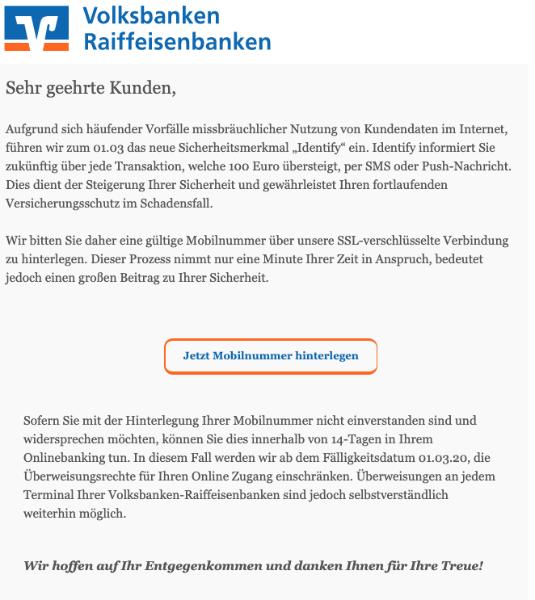2020-02-28 Volksbank Fake-Mail Volksbank fuehrt neue Schutzmassnahmen ein
