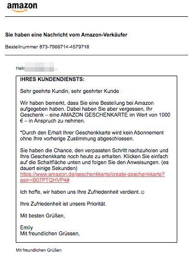 2020-02-29 Amazon Verkäufer Spam-Mail Aktualisierung Geschenkkarte 1000 Euro