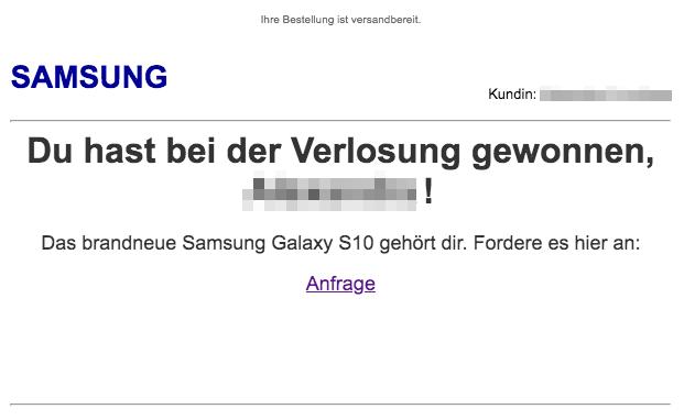 2020-02-29 Samsung Fake-Mail Gewinn Abofalle