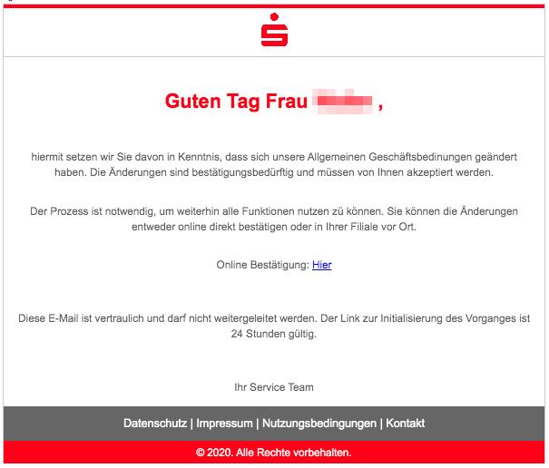 2020-02-29 Sparkasse Spam-Mail Phishing Änderung der Allgemeinen Geschäftsbedinungen