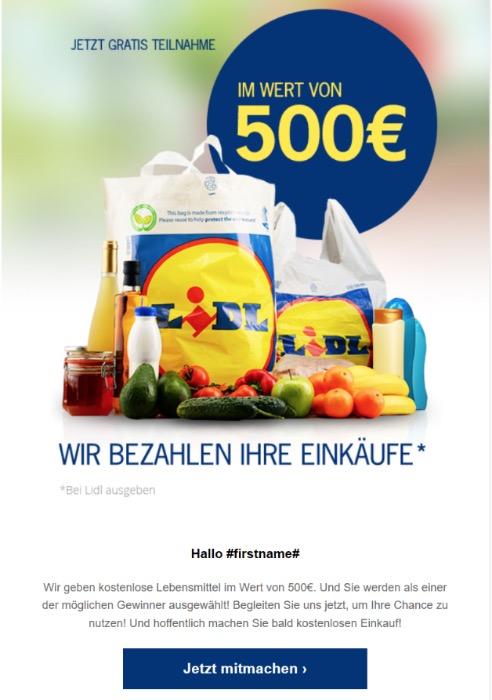 2020-03-03 Lidl Spam-Mail WIr bezahlen Ihre Einkäufe