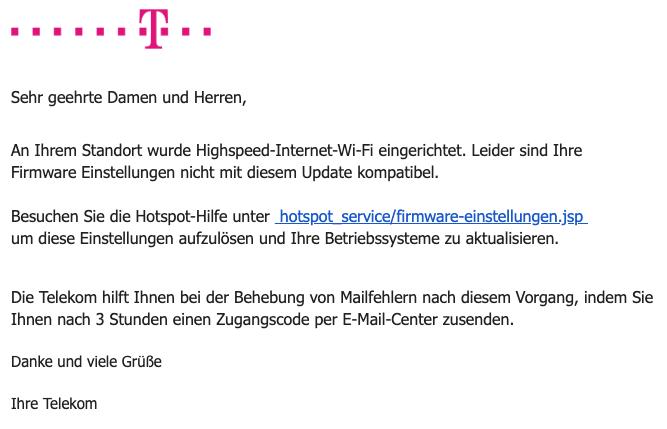 2020-03-04 Telekom Spam Fake-Mail Warnung - Mail-Sicherheit gefährdet