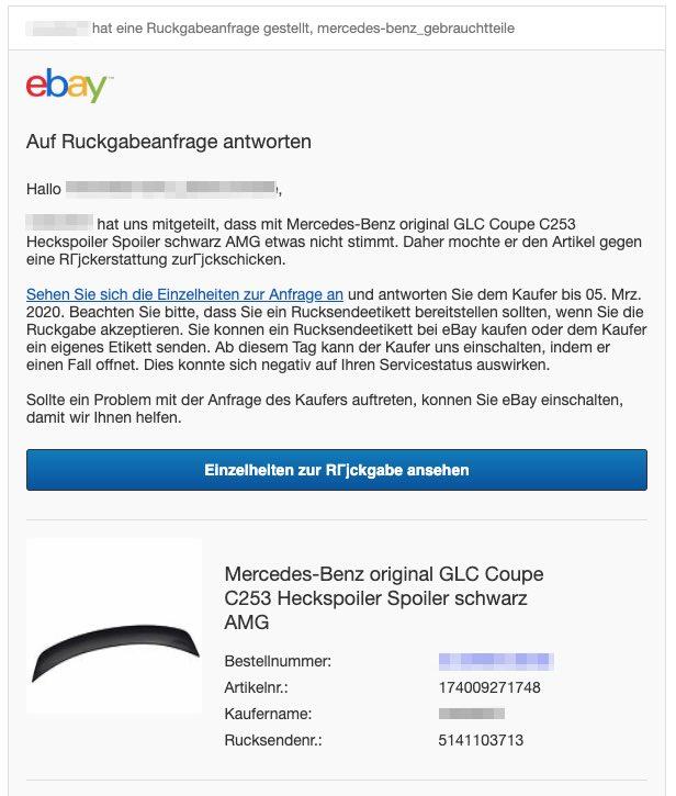2020-03-04 ebay Phishing-Mail Fake Ruckgabe beantragt