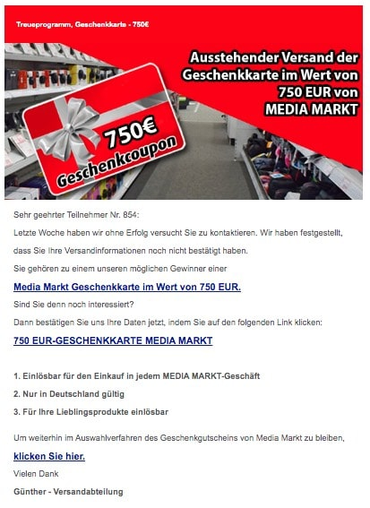 2020-03-18 Media Markt Spam Fake E-Mail Ausstehende Bestaetigung der MEDIA MARKT Geschenkkarte