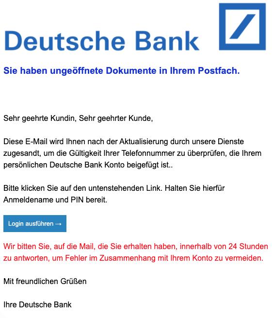 2020-04-20 Deutsche Bank Spam Fake-Mail Letzte Erinnerung