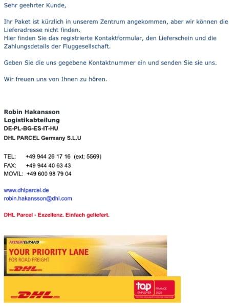 2020-05-13 DHL Spam Virus Fake Lieferschein