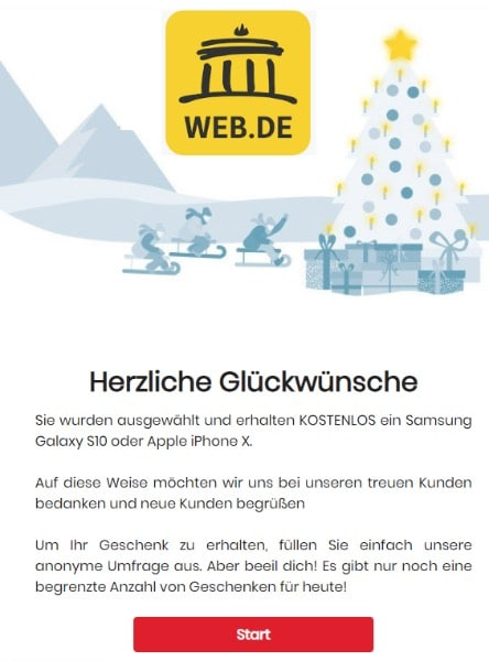 2020-05-29 web.de Spam Fake-Mail Du hast gewonnen