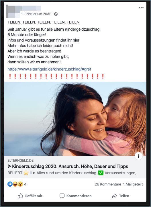 Falschmeldung Kinderzuschlag Facebook