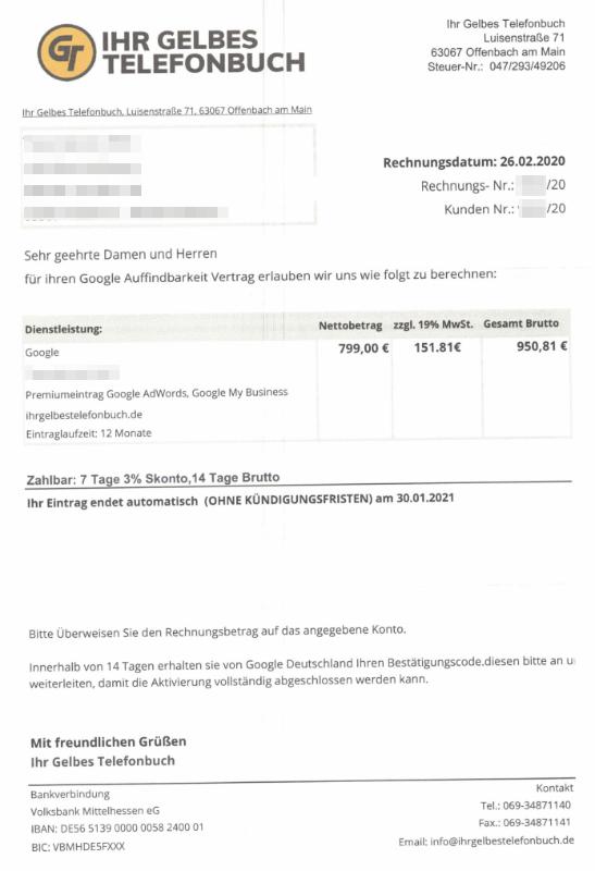 2020-03-02 Rechnung Ihr Gelbes Telefonbuch Fake